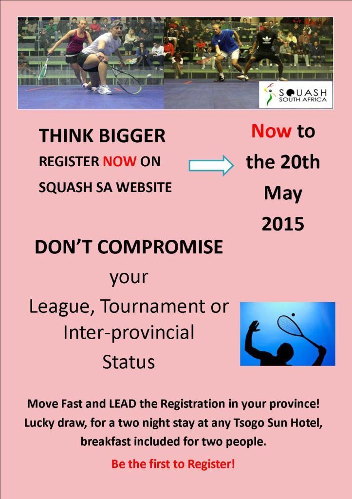 Squash SA Registration Poster