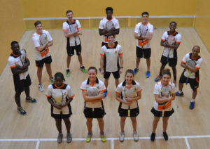 The UJ squash team which triumphed in the USSA tournament in Stellenbosch is, back from left, Ray Dlamini, Tyrone Dail, Ian Sturgeon, Blessing Muhwati, Kyle Maree, Simpiwe Gqibane, Thabo Kenosi, centre, Ruan Olivier (men's captain), front from left, Nonpumelelo Ndaba, Alexa Pienaar (women's captain), Kacey-Leigh Dodd and Mikaila Westmorland. Photo: Supplied
