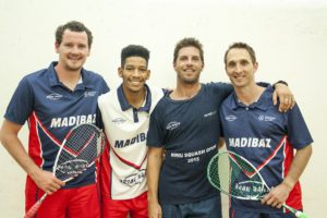 The NMMU squash team which won the Eastern Province Super League men's title last week is (from the left) Johan Thiel, Gershwin Forbes, Brendan Bassett and Jason le Roux. The fifth member was Grant Greyling. Photo: Fabian Smith